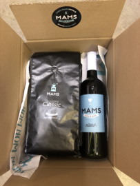 (P2) MAMS KG koffiebonen + Fles MAMS wijn naar keuze