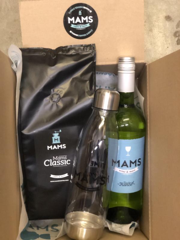 (P16 thuiswerken) MAMS koffiebonen,  Fles MAMS Wijn & Waterfles