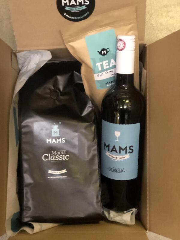 (P14 thuiswerken) MAMS koffiebonen, Thee & Fles MAMS Wijn