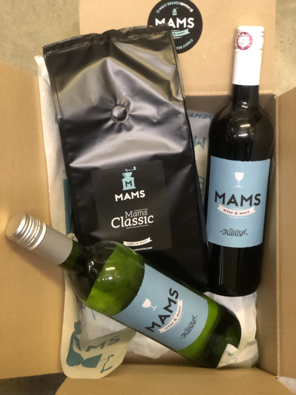 (P15 thuiswerken) MAMS koffiebonen & 2 Flessen MAMS Wijn naar keuze