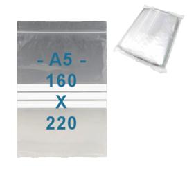 100 x gripzakjes met schrijfbanden   A5      160 x 220 mm