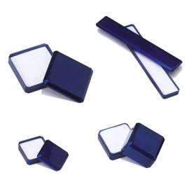 écrin bijoux en matière synthétique bleue