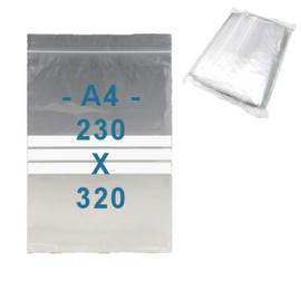 100 x gripzakjes met schrijfbanden   A4      230 x 320 mm