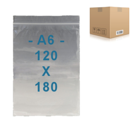 1000 x sachets zip  A6         120 x 180 mm