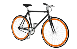 CUSTOM BUILD SINGLE SPEED FIETS ORANGE
