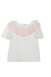 Mooi uitgewerkt Patachou shirtje in het Offwhite/roze.