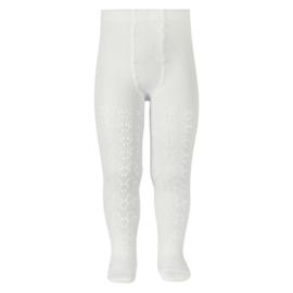 Prachtige opengewerkte katoenen maillot van Cóndor in het offwhite 2507