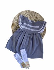 Prachtige jurk van Babidu in het oudblauw.