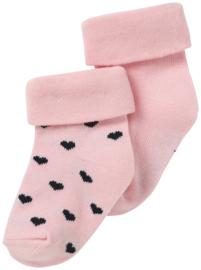 Noppies babysokjes roze met blauwe hartjes 2 -pack.