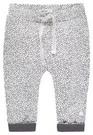 Fijn Noppies broekje wit met zwarte dots.