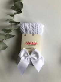Condor maillot opengewerkt met strik wit.