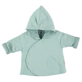 Heerlijk zacht gewatteerd baby jasje omkeerbaar in het oudgroen