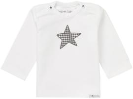 Heerlijk zacht Noppies shirtje wit met grijs.