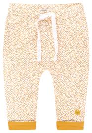 Fijn Noppies broekje wit met okergele dots.
