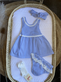 3-delig klassiek jurkje in het Lichtblauw/wit.