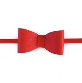 Prachtige haarband met leren strik in het rood.