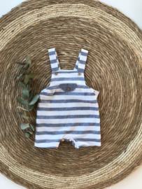 Stoere tuinbroek van Mac Ilusion in het Jeans blauw met wit. 3 maand-12 maand.