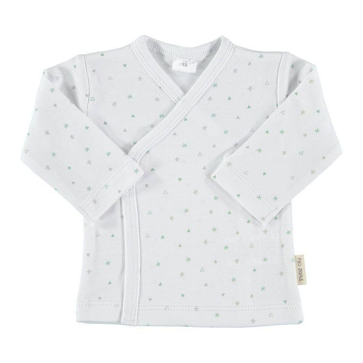 Petit oh overslag vestje wit met oudgroen en grijs