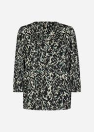 Soyaconcept blouse Marica groen zwart wit