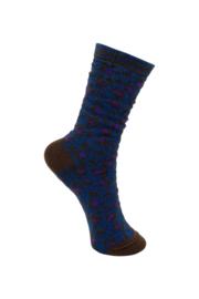 Glittersokken leopard donkerblauw