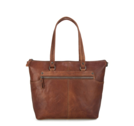 Leren shopper in brandy