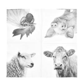 Servetten boerderijdieren