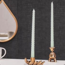 Set/4 twisted kaarsen mintgroen
