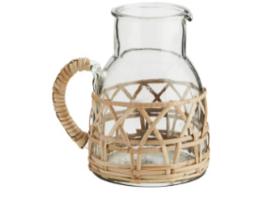 Glazen schenkkan bamboe