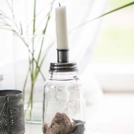 Kaarsenpot grijs/zink inclusief 6 kaarsjes