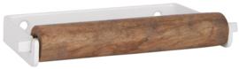 Toiletrolhouder hout/wit metaal