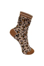 Glittersokken leopard bruin