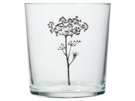 Glas met bloem zwart