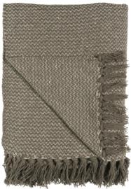 Plaid bruin/crème zigzagpatroon