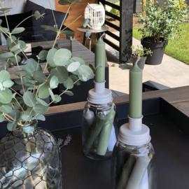 Kaarsenpot/ kandelaar wit inclusief 6 kaarsjes