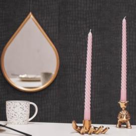Set/4 twisted kaarsen roze