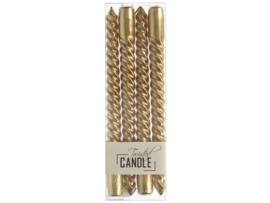 Set/4 twisted kaarsen goud 25cm