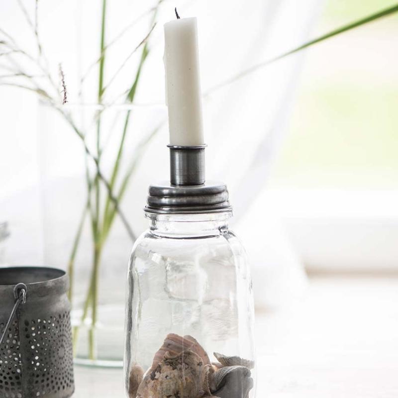 Kaarsenpot/ kandelaar zink inclusief 6 kaarsjes