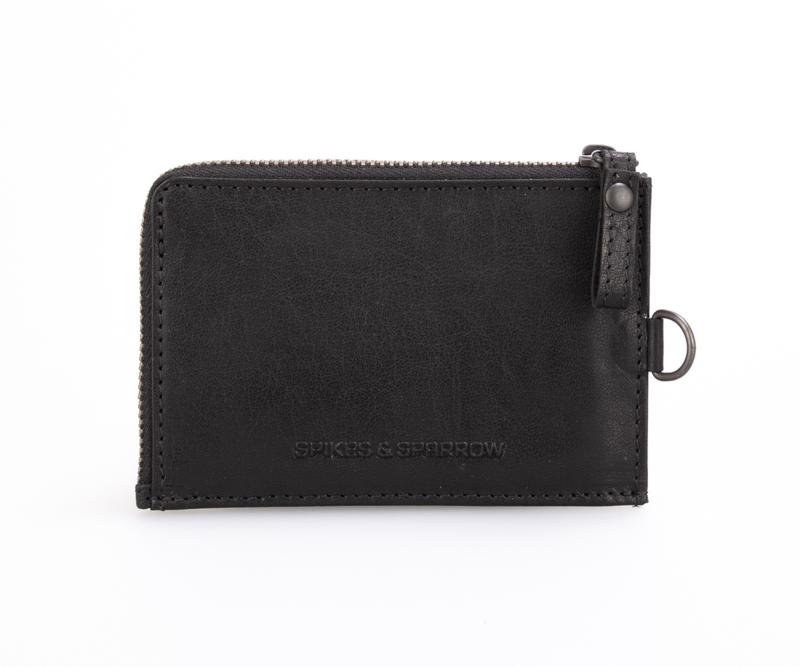 Plat portemonneetje met ritsje zwart