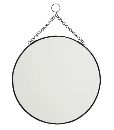 Spiegel rond zwart aan ketting