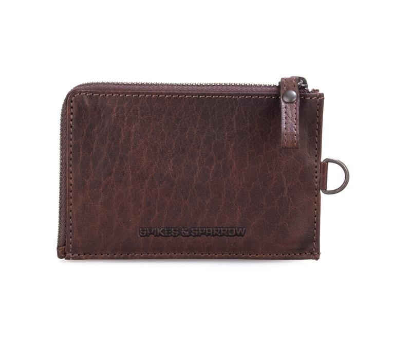 Plat portemonneetje met ritsje bruin