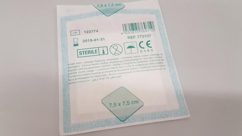 Gaas niet verklevend steriel (7,5 x 7,5 cm)