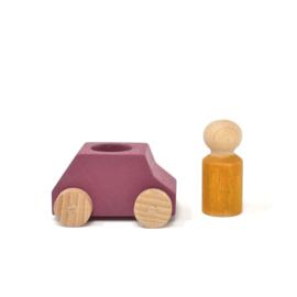 houten autootje 'plum' met poppetje [lubulona]