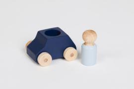 houten autootje blauw [lubulona]