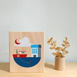 illustratie op hout - boot [lubulona]