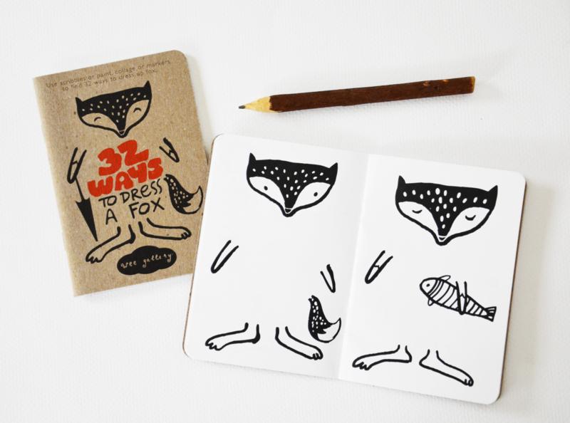 tekenboekje - 32 ways to dress a fox [wee gallery]