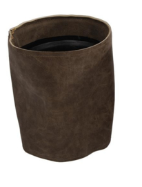 "Bloempot rond ""leather look"" bruin  13,5 x 13,5 x 16cm xl"