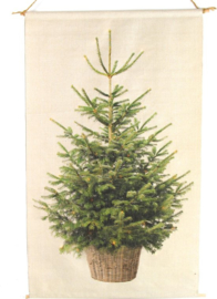 Kerstboom op canvas doek inclusief verlichting M (45x57cm)