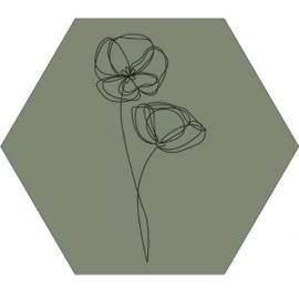 Muur hexagon viooltje oneline olijfgroen