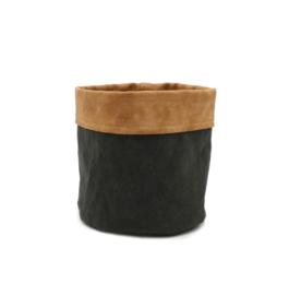 SIZO Paper Bag Zwart met leren rand