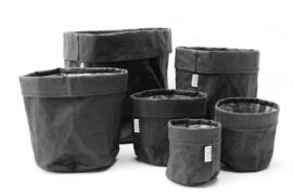 SIZO Paper bag zwart | leren look (5 formaten)